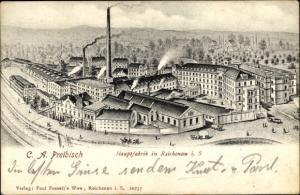 Ak Bogatynia Reichenau Schlesien, Hauptfabrik
