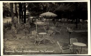 Ak Doorwerth Gelderland, Terras Hotel-Restaurant De Valkenier