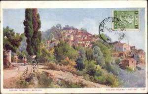 Künstler Ak Korfu Griechenland, Village Peleka