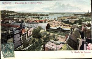 Ak Genova Genua Liguria, Panorama dal Terrazzo Peloso