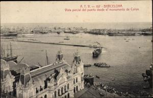 Ak Barcelona Katalonien Spanien, Vista parcial del puerto desde el monumento de Colon