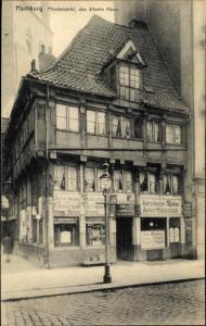 Ak Hamburg  Mitte Altstadt, Pferdemarkt, ältestes Haus, Haarschneidesalon August Mühlenfeldt