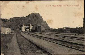 Ak Badalona Katalonien Spanien, Tunel de Mongat, Bahnhof, Gleisseite