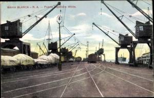 Ak Bahia Blanca Argentinien, Puerto Ingeniero White, Hafenkräne