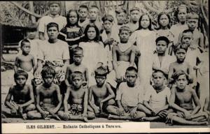 Ak Iles Gilbert Gilbertinseln Kiribati, Enfants Catholiques à Tarawa