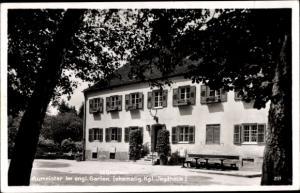 Ak München, Gaststätte Aumeister am englischen Garten, Außenansicht