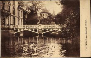 Ak Villoiseau par Montargis Loiret,Gewässer, Enten, Gebäude