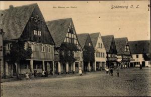 Ak Sulików Schönberg Oberlausitz Schlesien, Alte Häuser am Markt