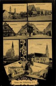 Ak Sulików Schönberg Oberlausitz Schlesien, Marktplatz, Kaiserdenkmal, Görlitzerstraße, Kirche