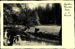Ak Rominten Ostpreußen, Partie an der Rominte beim Jagdhaus, Hotel zum Hirschen