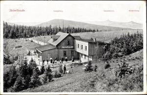 Ak Sommerfrische Jäckelbaude am südlichen Abhang der Moiselkuppe, Langeberg, Landskrone, Gickelsberg