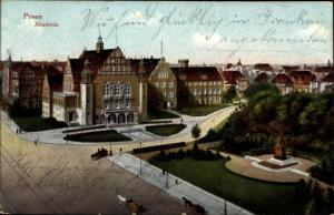 Ak Poznań Posen, Akademie, Bismarck Denkmal
