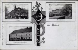 Ak Dzbanów Banau Schlesien, Schule, Dominium, Neumann's Gasthof