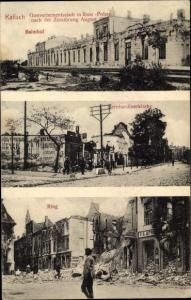 Ak Kalisz Kalisch Posen, zertörter Bahnhof 1914, Bernhardinerkirche, Ring