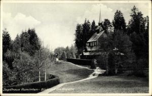 Ak Rominten Ostpreußen, Jagdhaus, Blick auf die Kapelle