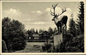 Ak Rominten Ostpreußen, Jagdschloss mit Hirschstandbild