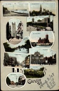 Ak Cardiff Wales, Kathedrale, Schloss, Kirche, Bibliothek
