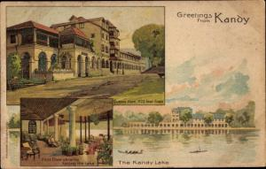 Litho Kandy Sri Lanka Ceylon, Queens Hotel, Kandy Lake