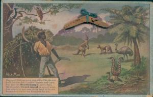 Material Künstler Ak Australien, Aborigine mit Bumerang, Känguru, Emu