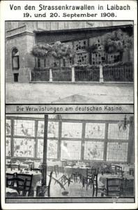 Ak Ljubljana Laibach Slowenien, Straßenkrawalle 1908, Verwüstungen am deutschen Kasino