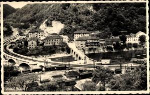 Ak Zidani Most Steinbrück Slowenien, Vogelschau, Eisenbahnstrecke