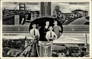 Ak Belgrad Beograd Serbien, Palais Royal, Pont du Roi Alexandre I, Rue du Roi Milan, Adel