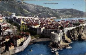 Ak Ragusa Dubrovnik Kroatien, Stadt aus Vogelschau