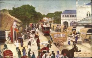Ak Colombo Sri Lanka, Street Scene, tramway, Lipton tea carriage