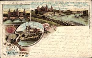 Litho Aschaffenburg in Unterfranken, Königliches Schloss, Pompejanum