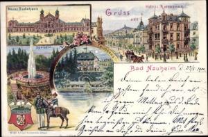 Litho Bad Nauheim in Hessen, Neues Badehaus, Sprudel, Hotel Reichshof