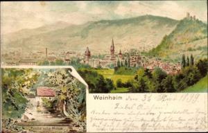 Litho Weinheim an der Bergstraße Baden, Gesamtansicht