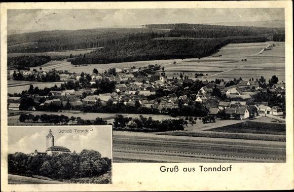 Ak Tonndorf in Thüringen, Gesamtansicht, Schloss 0
