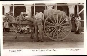Ak Curaçao Niederländische Antillen Karibik, Wasserwagen mit Esel