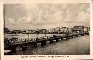 Ak Curaçao Niederländische Antillen Karibik, Queen Emma Pontoon bridge