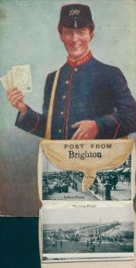 Leporello Ak Brighton, Postbote, King Road, Palace Pier