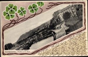 Passepartout Ak Saarbrücken im Saarland, Teilansicht mit Brücke, Kleeblätter