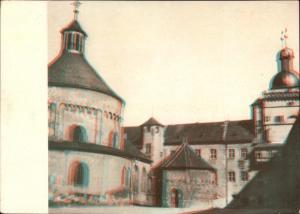 3 D Ak Würzburg am Main Unterfranken, Festung Marienberg, Festungshof, Rundkirche, Brunnen