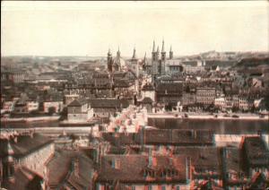 3 D Ak Würzburg am Main Unterfranken, Blick von der Festung auf die Stadt, Totalansicht