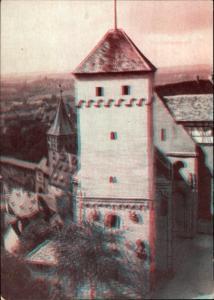 3 D Ak Nürnberg in Mittelfranken Bayern, Burg, Blick vom Aussichtsturm auf Heidenturm, Kaiserburg