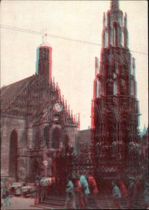 3 D Ak Nürnberg in Mittelfranken Bayern, Schöner Brunnen, Frauenkirche