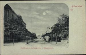 Mondschein Ak Holzminden an der Weser, Carlsstraße, Amtsgericht, Bürgerschule