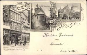 Ak Hildesheim in Niedersachsen, Glückwunsch Neujahr, Geschäftshaus, 1000jähriger Rosenstock, Rathaus