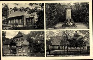 Ak Celle in Niedersachsen, Gasthaus zum Deutschen Hause, Kirche, Ehrenmal, Forstamt