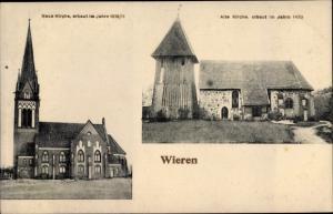 Ak Wieren Wrestedt in Niedersachsen, Neue und alte Kirche