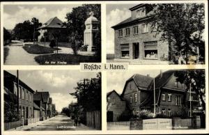 Ak Rosche in Niedersachsen, Gesschäftshaus, An der Kirche, Lutherstraße, Kreissparkasse
