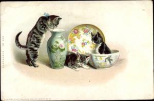 Künstler Litho Katzen spielen mit dem Porzellan, Nr. 203