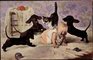 Künstler Ak Roeseler, A., Umzingelt, drei Dackel, Katze, weinendes Baby, Nr. 116