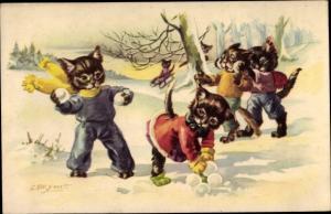 Künstler Ak Katzenkinder werfen mit Schneebällen