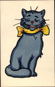 Künstler Ak zwinkernde Katze mit Schleife, Munk Nr. 417