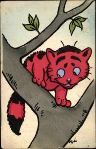 Künstler Ak Fut, rote Katze auf dem Baum, Nr. 491